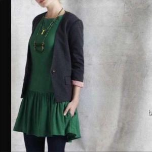 Anthropologie kelly green long sleeves dress